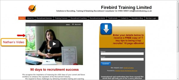 Firebird Training website with Nathan's video being promoted